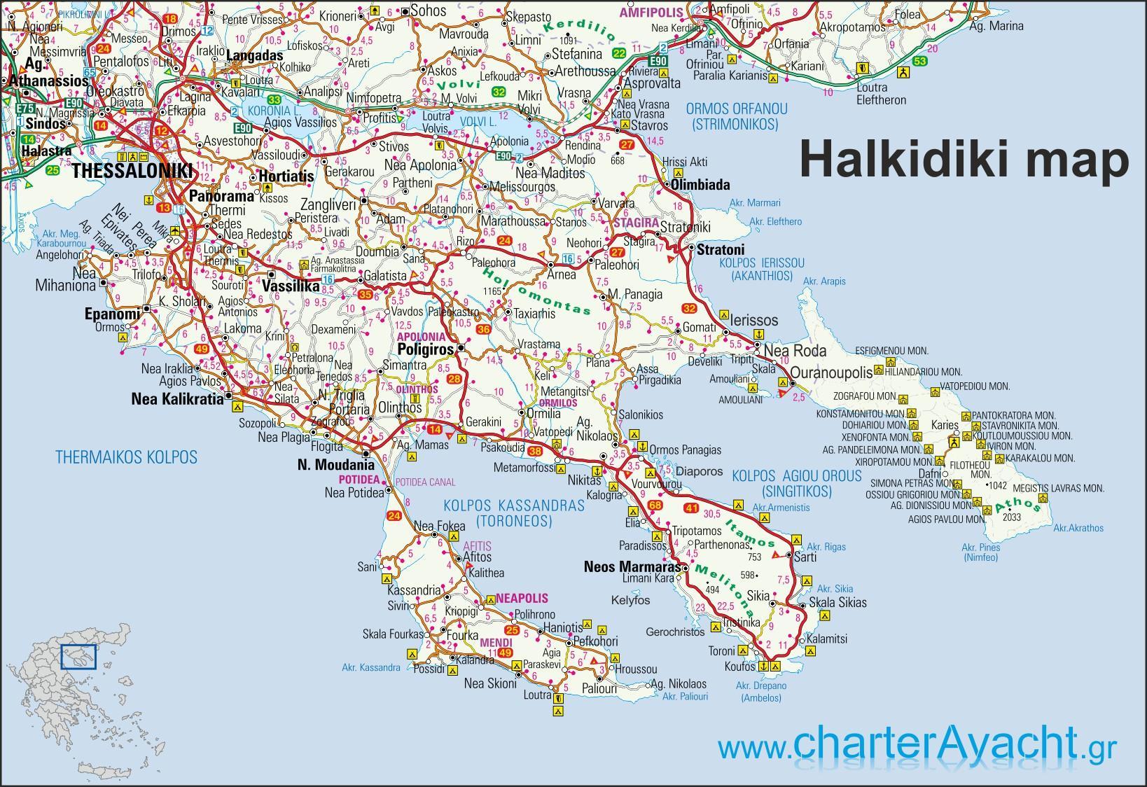Halkidiki I Graekenland Kort Kort Over Graekenland Halkidiki Det
