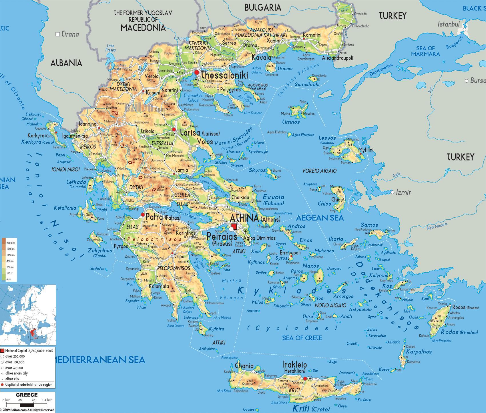 Kort Over Graekenland Graekenland Kort Placering I Det Sydlige