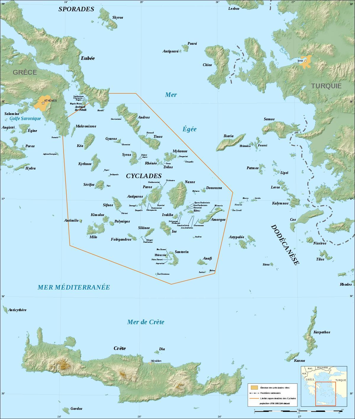Kykladerne Graekenland Kort Kort Over Graeske Oer Kykladerne Det