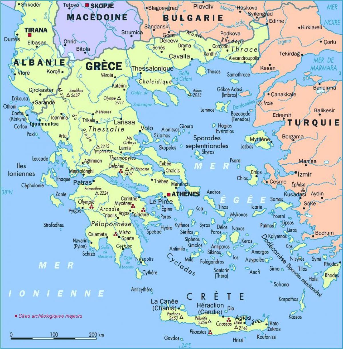 Graekenland Oerne Kort Kort Over Graekenland Med Oer Sydlige