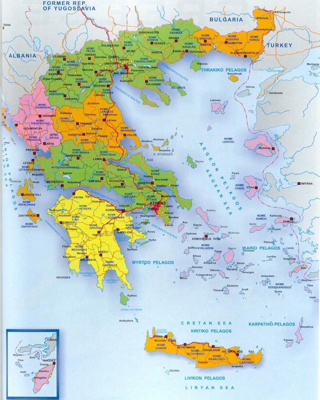 Graeske Oer Kort Kort Over Graekenland Og De Graeske Oer Sydlige