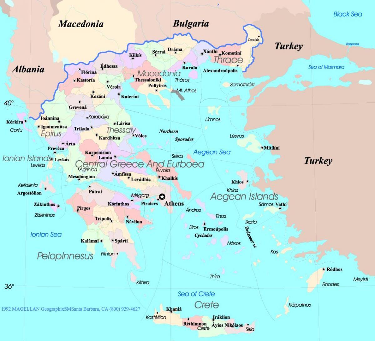 Kort Over Graekenland Og Oerne I Graekenland Kort Oer Sydlige