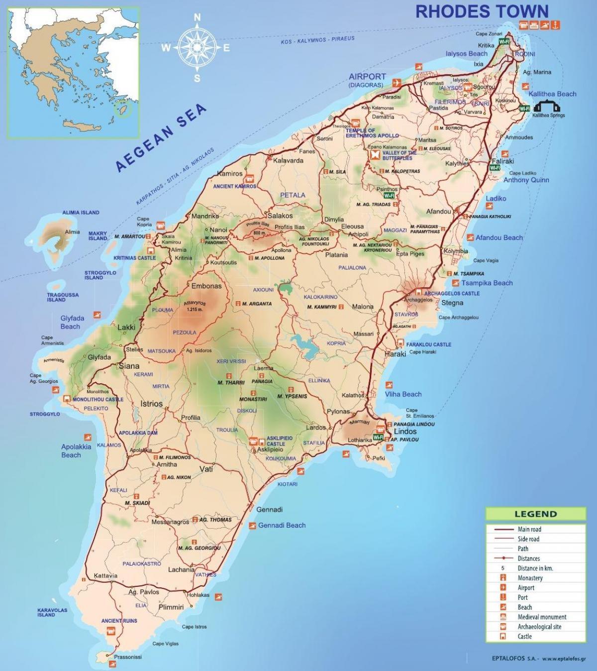 Rhodes Graekenland Kort Kort Over Rhodos Graekenland Det Sydlige