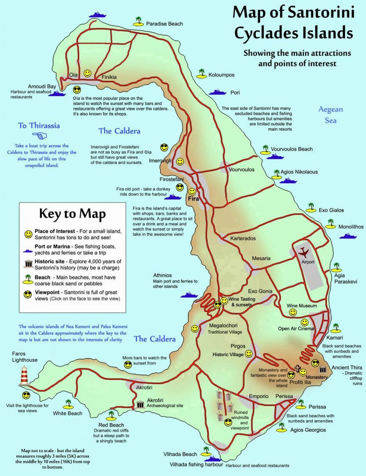 Santorini Graekenland Kort Kort Over Santorini Graekenland Det