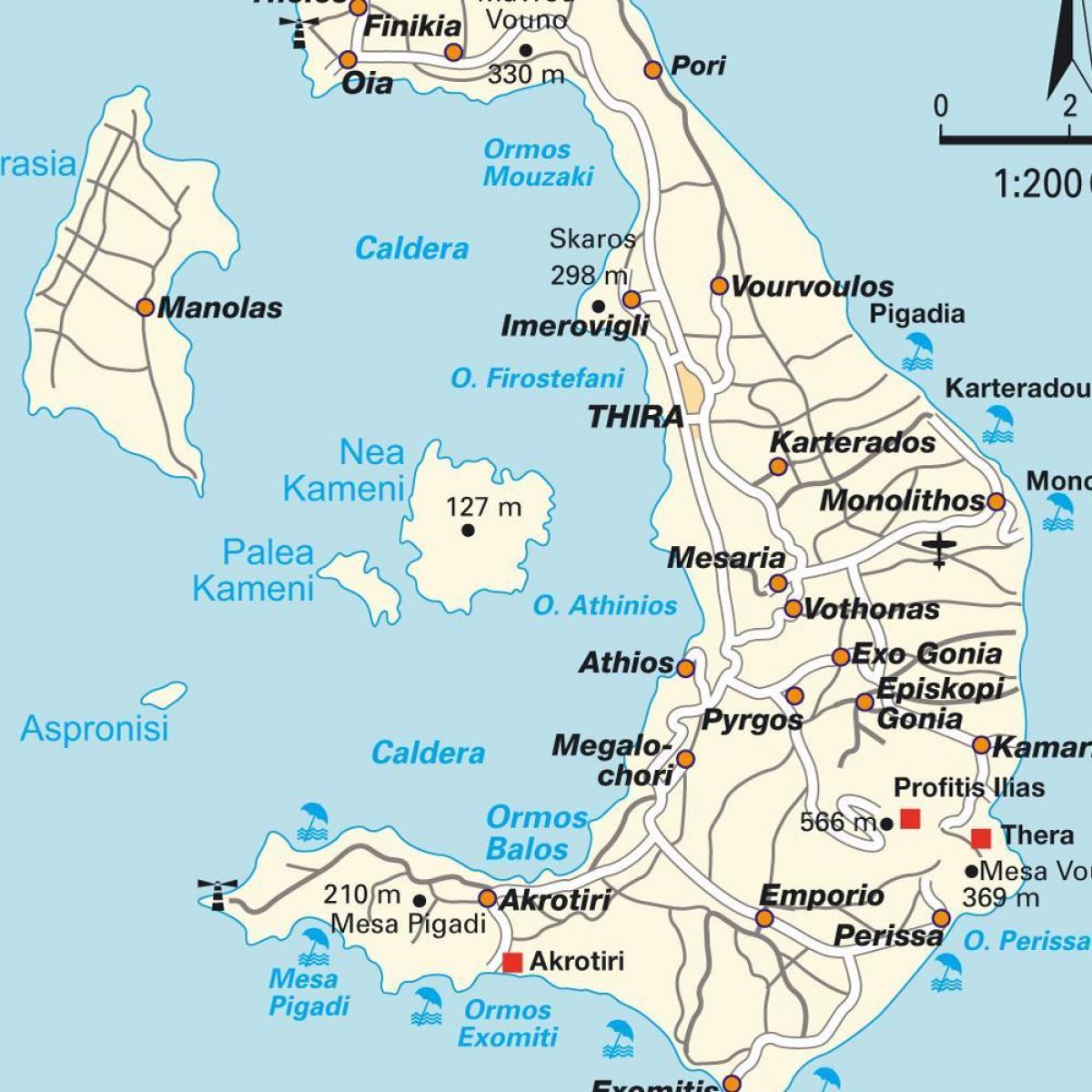 Santorini Kort Graekenland Santorini Graekenland Det Sydlige